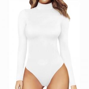Wholesale Women Plain Custom Colors Long Sleeve Turtle Neck Bodysuit