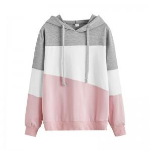 Women Solid Color Loose Hooded Tops Sweatshirts long sleeve girl Pullovers loose Hooded Coldker