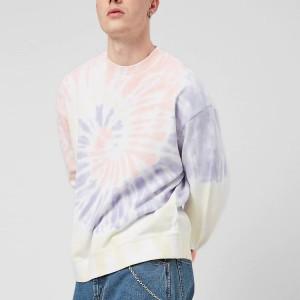 Men Fashion Long Sleeve Dropped Shoulders Custom French Terry Tie Dye Crew Neck Sweatshirt