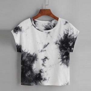 2021 customize logo women Tie Dye multi color Short Sleeve Casual plus size summer t shirts for women