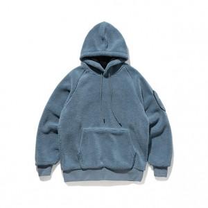 Fashion Poler Fleece Streetwear Men Loose Fit Pocket Soild Color Male Hoodies