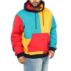 men custom wholesale long sleeve front kangaroo pocket multi color block hoodie