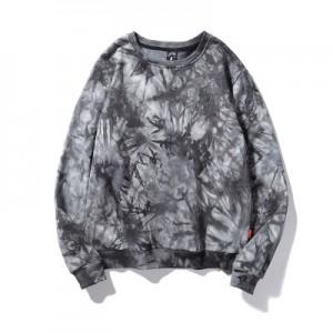 Men's high quality 100%cotton french terry custom logo pullover tie dye crewneck sweatshirt